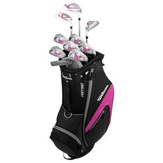 Wilson Damenset X-31 mit Graphitschaft, beinhaltet Eisen, Wedges und Putter in Golftasche, Silver and Pink, Für Erwachsene