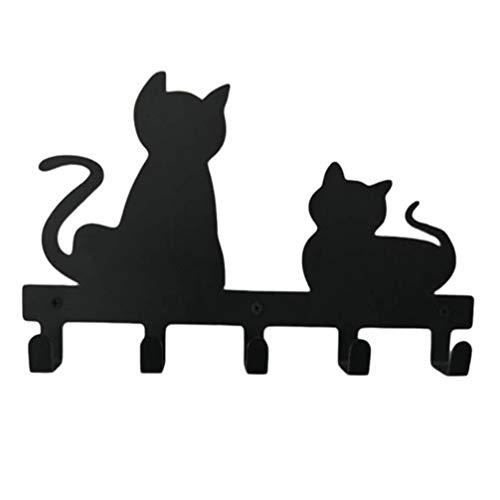 DOITOOL Perchero de pared con forma de gato con dibujos animados para colgar bolsas de animales, para colgar abrigos, ropa y llaves, para decoración del hogar, dormitorio, color negro