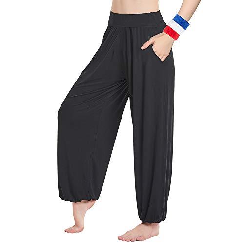HANERDUN Damen Super Weich Elastisch Bequem Yogahose Lang Haremshose Casual Sporthose mit Taschen