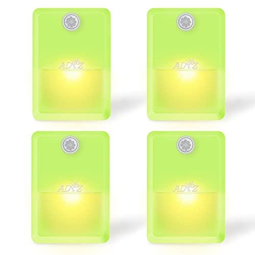 ADAZ Luce Notturna LED, 4 Pz Luce LED Sottopensile con sensore movimento, Sensore Crepuscolare Luci LED a Batteria AAA con Adesivo per Scale Credenza Corridoio Bagno Cucina e Camera (Giallo verde)