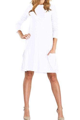 YMING Damen Langes Shirt Casual Kleid Langarm Mini Kleid Mit Taschen,Weiß,S/DE 36-38