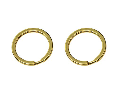 Shapenty Gold Metal Key Rings Flat Split Key Chain Part Connector Keyring Clip Keychain Clasp Holder for DIY Craft Project and Home Car Keys Organization, 2 Pack (Gold)