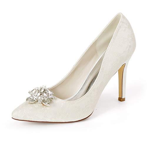 QXue Mujer Zapatos de Boda Pedrería Satinada Tacón Alto Zapatos de Novia Ballet para Boda, Fiestas, Novias, Damas de Honor,Marfil,37 EU