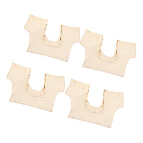 dailymall 4 x Beige Underarm Sweat Pads Holder Bralette, Reusable Underarm Armpit Sweat Pads Shields Quick-dry and Sweat Absorbing Underwear for Women L+M