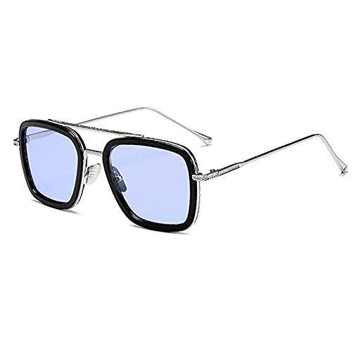 Spider Man Edith Brille, Metallrahmen für Damen, klassische Downey Iron Man Tony Stark Schattierungen, passendes Brillenetui und Stoffbeutel, Blau