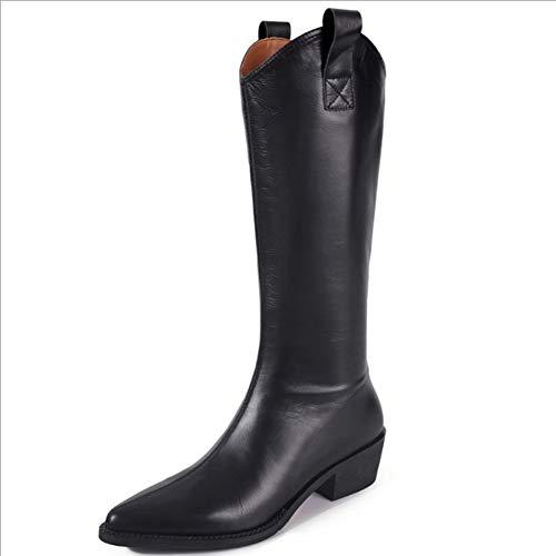GAO-bo Botas occidentales puntiagudas en forma de V, tacones de altura retro de las mujeres, tacones gruesos, tacones gruesos, antideslizantes, resistentes al desgaste y botas de caballero gua