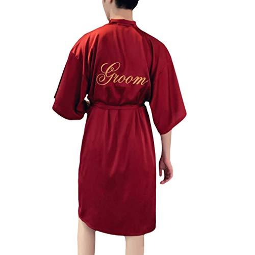 Kimono de satén para hombre, para boda, novio y novio, clásico, para...