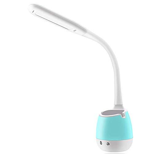 Busirsiz Lámpara de escritorio para estudio, intensidad regulable, con soporte para bolígrafo, soporte para teléfono móvil, regulador de contacto, base de cambio de color (luz nocturna), color blanco