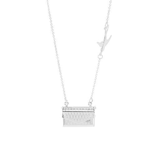 Personalisierte Halskette Handtasche Halskette Foto Halskette mit Bild Gravierte Halskette Weihnachtsgeburtstag Jubiläum Valentinstag Personalisierte Geschenke für Frauen(Silber 20)