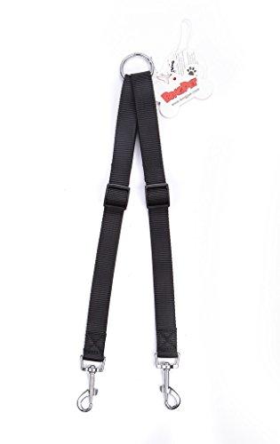 BINGPET Black Strong Nylon Adjustable Double Coupler Two Dog Leash No Tangle 1' 16-24'