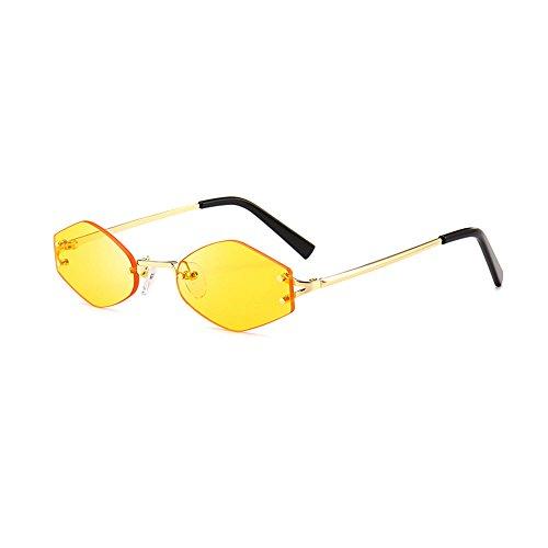 Mode Herren Retro Sonnenbrille für Damen Metallrahmen Shades Brillen Katzenauge Metall Rand Rahmen YWLINK Frau Mode Sonnebrille Gespiegelte Linse Women Sunglasses (5.6cm, Gelb)