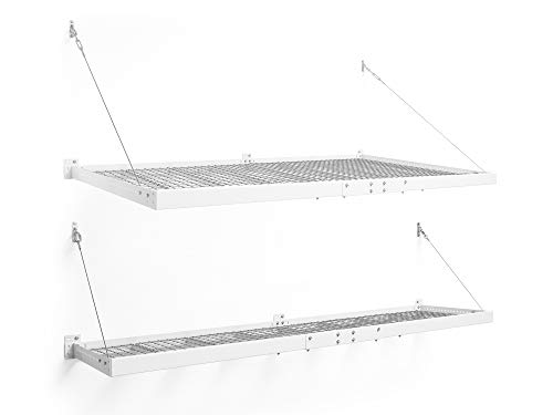 NewAge Products Inc. Pro Series White 4 ft. x 8 ft. & 2 ft. x 8 ft. Wall Mounted Steel Shelf, Garage Overheads, 40409
