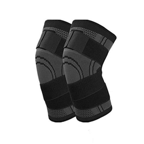 Hosaire 1X Rodilleras Deportivas Flexible Transpirable Rodillera de Compresión 3D con Ajustable Correa para Crossfit Correr Deportes Hombre Mujer Rodilleras,Negro-XL