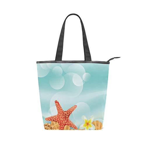 Jeansame Einkaufstasche aus Segeltuch mit Tragegriff, Schultertasche mit Reißverschluss, Sommer, Ozean, Meer, mediterrane Blumen, Seestern