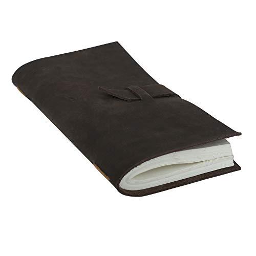 A5 Reisetagebuch - Handgefertigtes Lederjournal aus Recyceltem Baumwollpapier Travel Sketchbook - Bestes Geschenk für Männer & Frauen - 22x12 cm