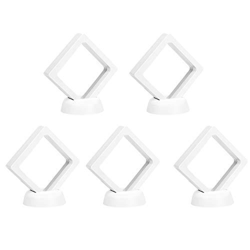 présentoir à bijoux,5pcs suspendu flotter bijoux présentoir de boîte d'affichage cas stand avec membrane PET transparente pour boucles d'oreilles anneau pièces de pierres précieuses artefacts blanc