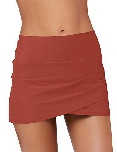 Luyeess Women's Mid Waist Tulip Hem Swim Skirt Bikini Tankini Swimsuit Swimwear Bathing Suit Bottom with Briefs Red Color, Size L(US 12-14)
