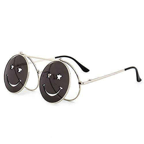 Chudanba Gafas de Sol Hombres Mujeres Gafas de Metal Redondas Smiley Clamshell Gafas de Sol UV400,C6