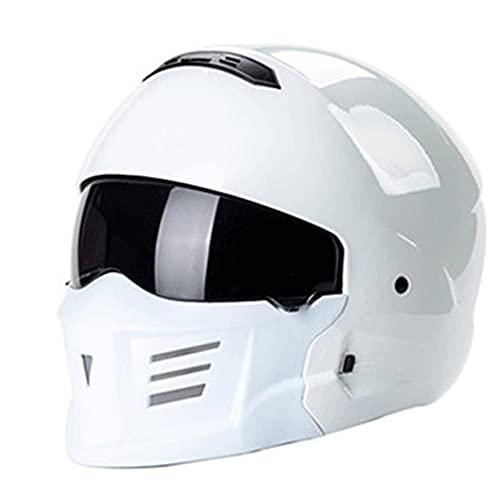 Casco integrale da moto Scooter DOT/ECE Omologato Motorino Caschi Integrali Donna Uomo con Visiera Parasole Rimovibile Casco Demi-Jet (Color : White)