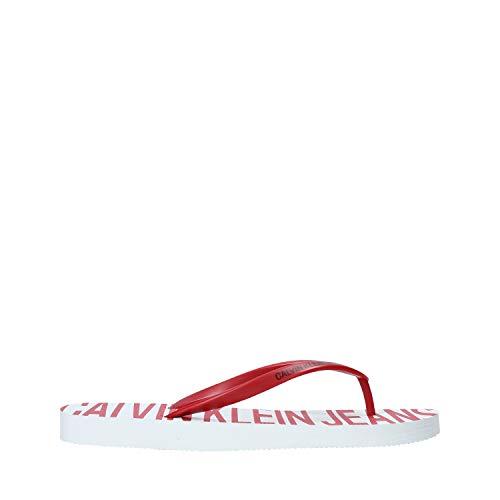 Calvin Klein Chanclas de mujer Art B4R0902 White Red Color Foto Medida a elegir