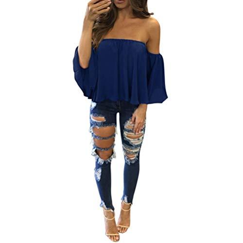 VJGOALas Mujeres de Moda Casual de Manga Larga Pullover Camiseta Sexy Off Hombro Blusa Casual (M, Azul)