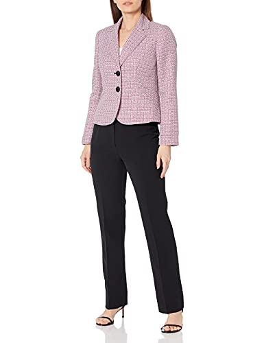 Le Suit Women's Petite 2 Button Notch Collar Textured Plaid Pant Suit, Black/Flamingo/White, 16P