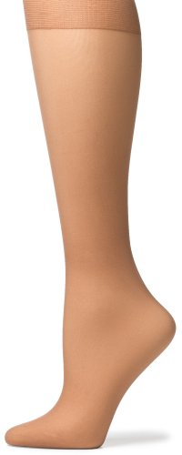 No Nonsense Women's Knee High Pantyhose with Sheer Toe, 10 Pair Value Pack, Tan, One Size