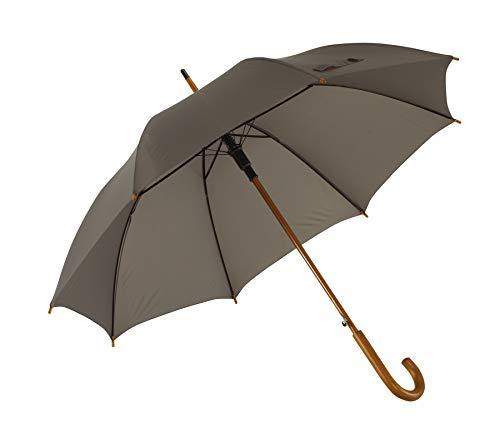 Automatik Regenschirm Holzschirm Stockschirm Portierschirm mit gebogenem Rundhaken Holzgriff in 103 cm Durchmesser von notrash2003 (Grau)