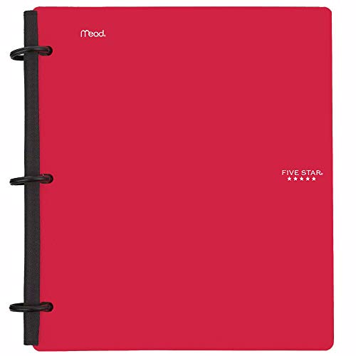 Five Star Flex Hybrid NoteBinder, 1-1/2 Inch Binder with Tabs, Notebook and 3 Ring Binder All-in-One, Red (72399)