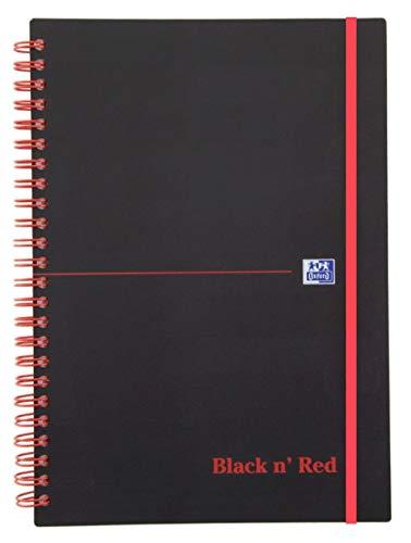 Oxford 400047656 Spiralbuch Black n' Red A5 kariert flexibler Deckel 70 Blatt schwarz/rot Notizblock Schreibblock Collegeblock