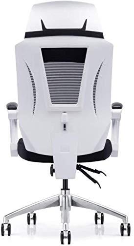 JYHJ Silla de oficina ergonómica, elevador de malla para personal, sillón reclinable multifunción, color negro, negro, nombre del color: blanco (color: blanco)
