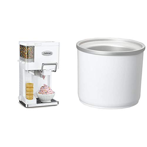Cuisinart ICE-45P1 Mix Serve 1.5-Quart Soft Service Ice Cream Maker, White & ICE-45RFB1-1/2-Quart Ice Cream Maker Freezer Bowl - For use with the Cuisinart ICE-45 Mix It In Soft Serve Ice Cream Maker