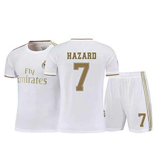Mesh schnell trocknendes ärmelloses Kinderfußballtrikot, Modric10 Bale11Eden Hazard7 Benzema9 Fan Trikot, anpassbar + Socken-White7-16