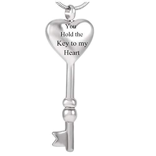 Wxcvz Collar De Urna De Cremación Collar De Cremación con Llave De Corazón para Mascotas/Joyas De Recuerdo Humano Collar De Urna De Cenizas: Tienes La Llave De Mi Corazón