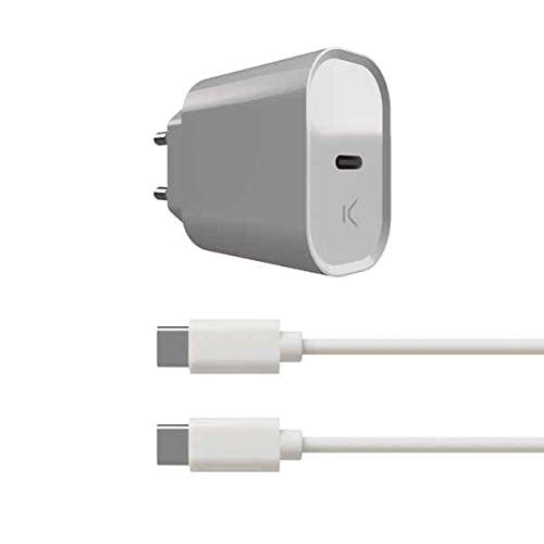 KSIX S1905464 Cargador de Pared y Cable USB C 20 W, Blanco