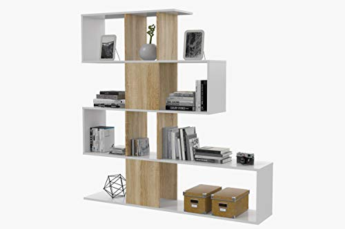 Dmora Libreria Design, bifacciale, 145 x 145 x 29 cm, Bianco e Rovere, ESSE