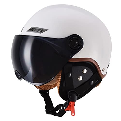 Casco de motocicleta retro para hombre y mujer, con cara abierta, aprobado por DOT, cuatro estaciones eléctricas, Cruiser Street Scooter protección solar y resistente al viento