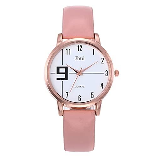 Libartly Reloj De Pulsera De Cuarzo De Moda para Mujer Relojes De Pulsera Elegantes para Mujer Adolescente Dial Redondo Puntero Banda De Cuero De PU Suave Reloj De Pulsera De Cuarzo Mujer - Rosa