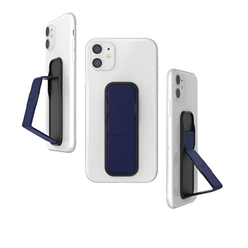 CLCKR Phone Grip and Expanding Stand, Universal Phone Grip Holder with Multiple Viewing Angles for iPhone, Samsung, Phones, Tablets and Many More, Diagonal Lines, Navy Blue
