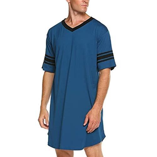 Herrennachthemd Nachthemd Herren Leichter, Bequemer Herrennachthemd Knielang Pyjama Schlafkleid Sommer Männer Kleideranzug