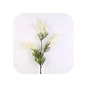 Ba Dai Artificial Acacia Yellow Mimosa Plush Pudica Fake Silk Flower Wedding Party Decor Red Bean Plant Home Decorations-White 86Cm-