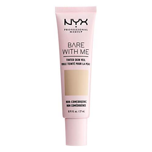 NYX Professional Makeup, Tinted Skin Veil Bare With me, BB Cream, Estratti di Aloe e Cetriolo, Coprenza Leggera, Tonalità: Vanilla Nude