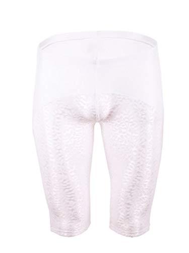 dPois Herren Boxershorts Lange Briefs Shorts Unterhose Sexy Unterwäsche Nylon Leggings Eng Stretch mit Spitze Patchwork Erotik Sissy Dessous Weiß XXL