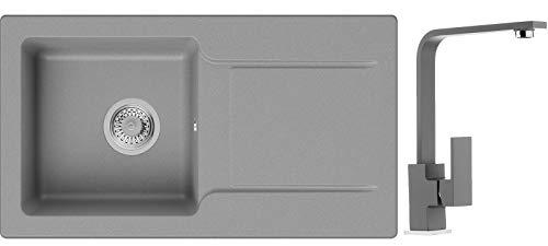 Küchenspüle Grau 78 x 44 cm, Spülbecken + Wasserhahn Küche + Siphon Klassisch, Granitspüle ab 45er Unterschrank in 5 Farben mit Armatur Varianten, Einbauspüle von Primagran
