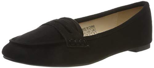 Greatonu - Mocasines planos para mujer con puntera puntiaguda, cómodos, informales, para el colegio, color Negro, talla 39.5 EU