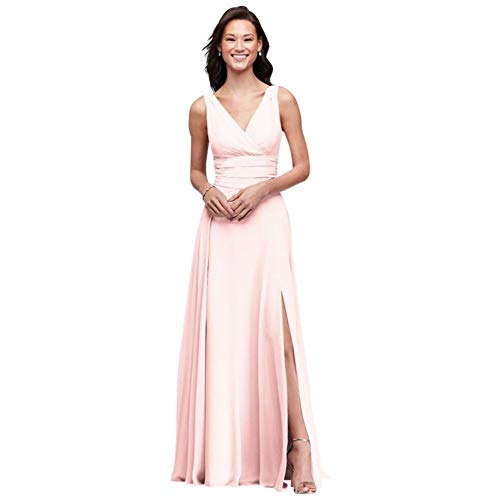 David's Bridal Surplice Tank Long Chiffon Bridesmaid Dress Style F19831, Petal, 12