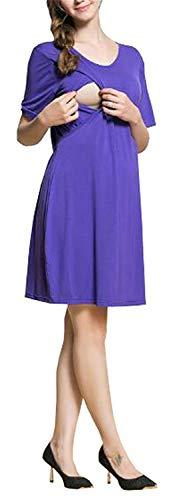 Huixin Robe De Soins Infirmiers Dames À Manches Courtes Vêtements De Maternité Occasionnels Doubles Couches Vogue Robes Enceintes De Couleur Unie Robe De Maternité Kneilang (Color : Purple, Size : L)