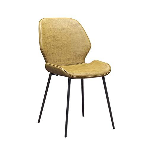 CSQHCZS-YZ Stuhl, Esstisch und Stuhl mit Rückenlehne Nordic Light modernen minimalistischen Freizeithocker Restaurant Café Computer Büro Lederstuhl ++ (Farbe : Yellow)