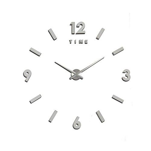 Reloj de Pared Yosoo, ultrasilencioso, diseño en 3D, Montaje con Adhesivo, Uso Decorativo, Grande