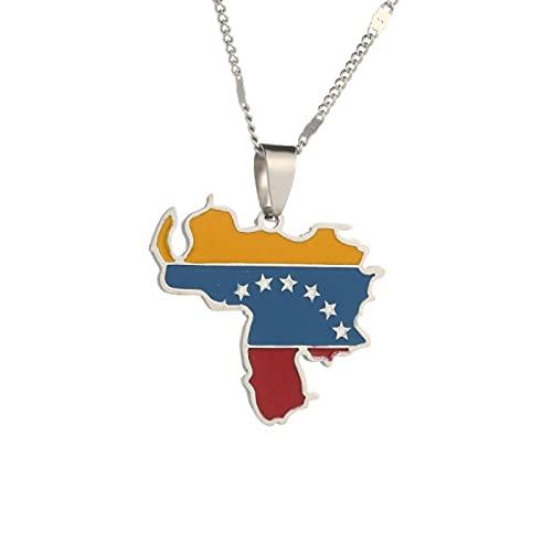 Collar con colgante de bandera de mapa de Venezuela, joyería de mujer con mapa de Venezuela